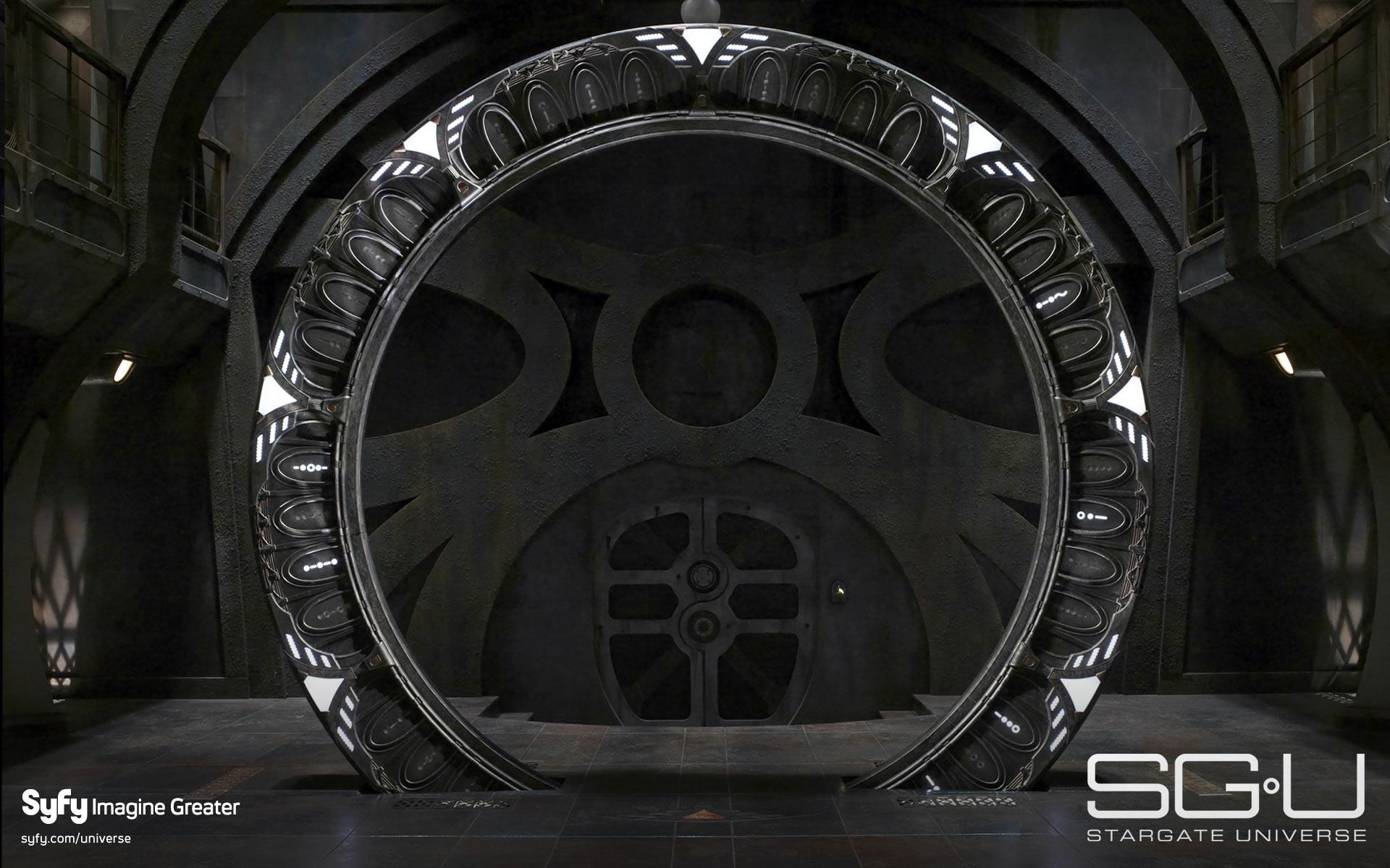 Un wallpaper con lo Stargate per la serie SGU