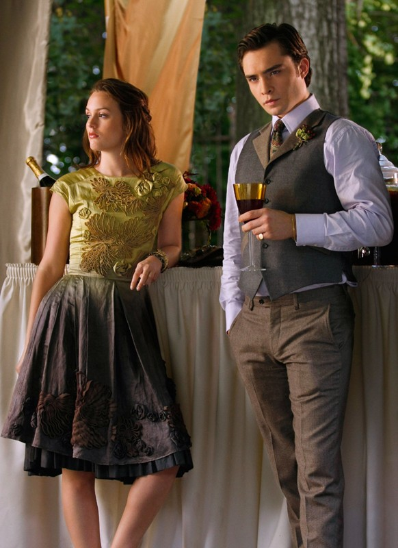 Ed Westwick e Leighton Meester nell'episodio Rufus Getting Married di Gossip Girl