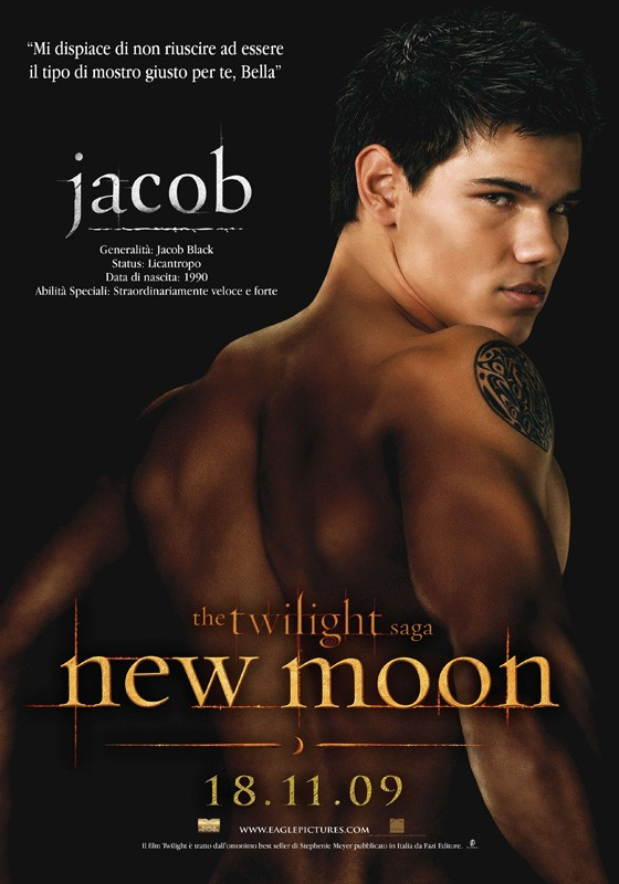 Un character poster dedicato a Jacob (Taylor Lautner) con la data di uscita in Italia