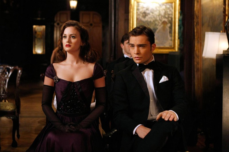 Gli elegantissimi Blair (Leighton Meester) e Chuck (Ed Westwick) nell'episodio Enough About Eve  di Gossip Girl