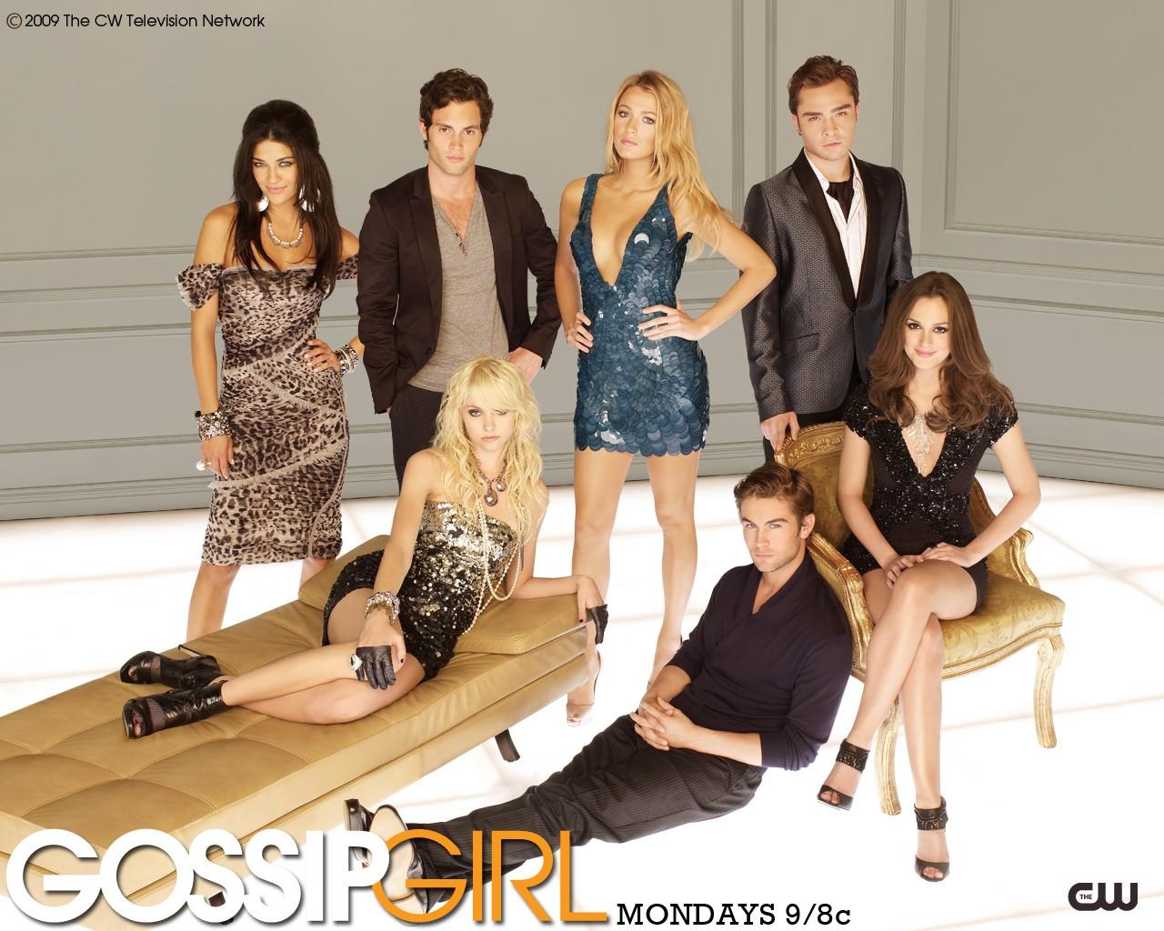Un wallpaper del cast principale della stagione 3 di Gossip Girl