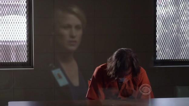 Medium, stagione 6: Allison Dubois (Patricia Arquette) riflessa in un vetro nell'episodio The Medium is the Message