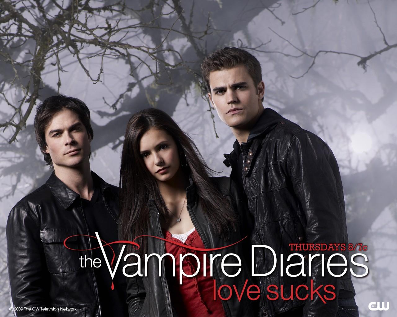 Un wallpaper con il trio protagonista per la serie The Vampire Diaries