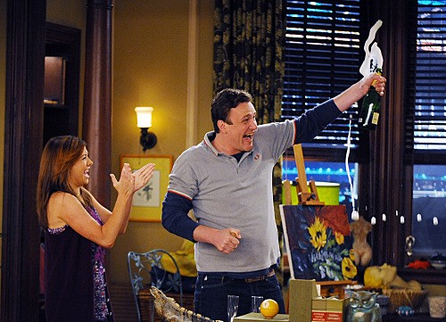 Alyson Hannigan e Jason Segel nell'episodio Bagpipes di How I Met Your Mother