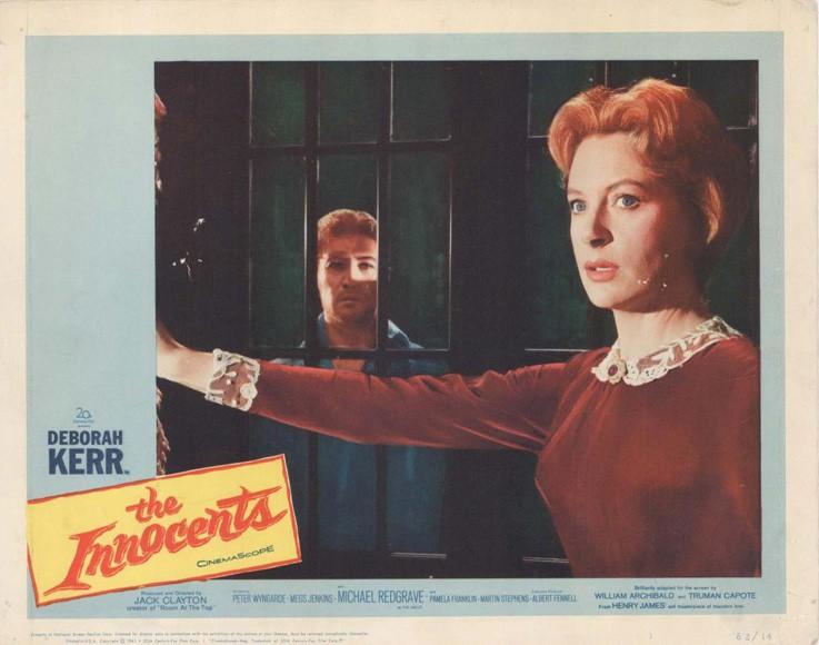 Deborah Kerr e Peter Wyngarde in una lobby card promozionale del film Suspense ( 1961 )