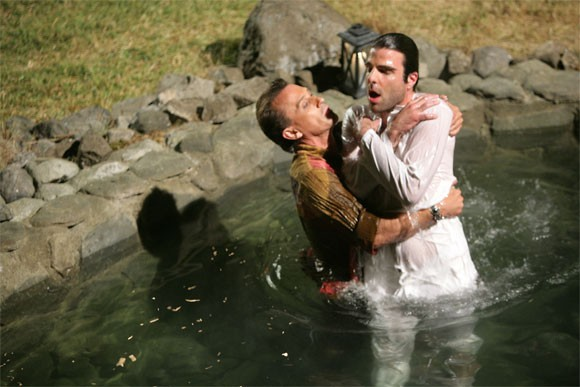 Robert Knepper e Zachary Quinto in una scena di Tabula Rasa dalla quarta stagione di Heroes