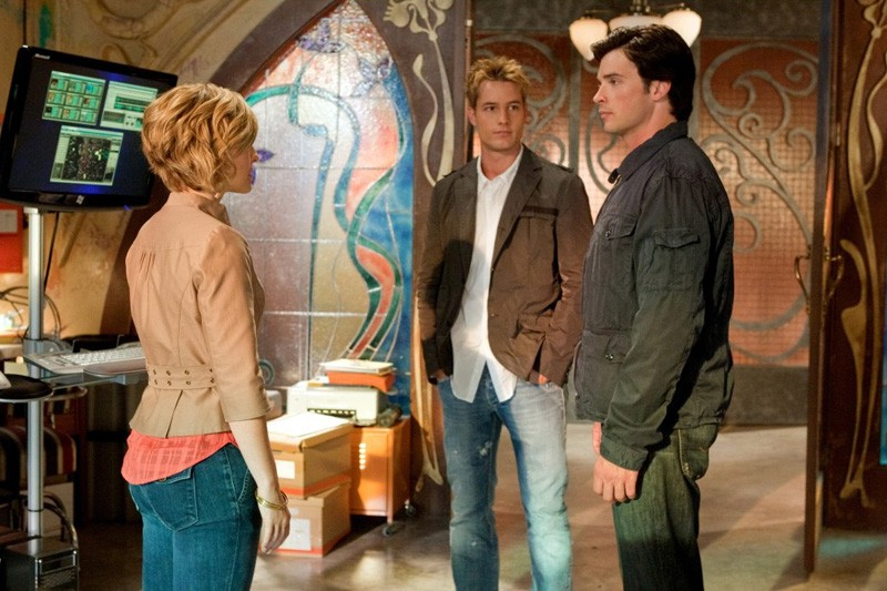 Allison Mack, Justin Hartley e Tom Welling nell'episodio Kandor di Smallville