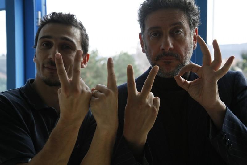 Sergio Castellitto sul set di Alza la testa assieme al regista Alessandro Angelini