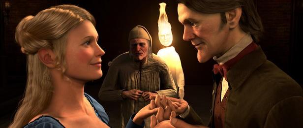 Belle (doppiata da Robin Wright Penn) e Ebenezer Scrooge nel film A Christmas Carol (2009)