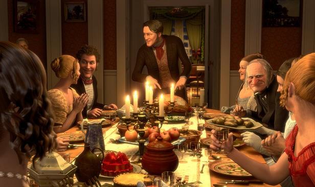 Ebenezer Scrooge (al centro) è il protagonista di A Christmas Carol (2009)