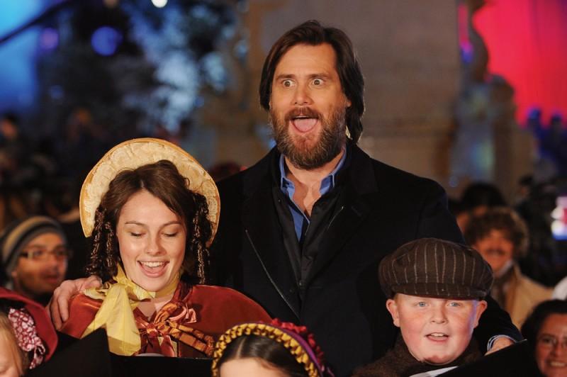 Jim Carrey in occasione della premiere londinese di A Christmas Carol