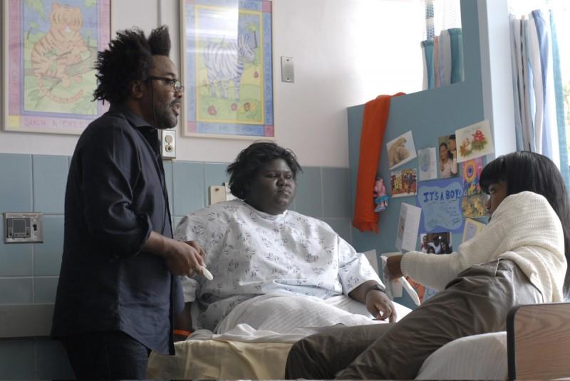 Lee Daniels, Gabourey Sidibe e Xosha Roquemore sul set del film Precious