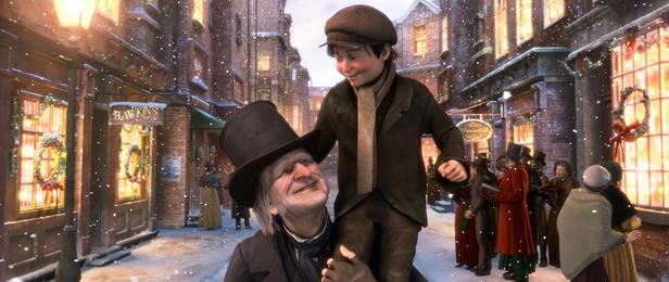 Scrooge e Tiny Tim nel film A Christmas Carol (2009)