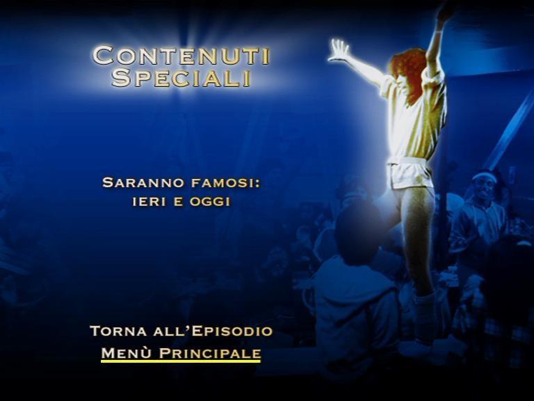 Il menù dei contenuti speciali del sesto disco della stagione 2 di Saranno Famosi