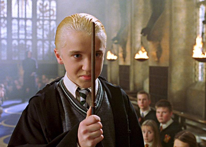 Draco Malfoy (Tom Felton) in una scena di Harry Potter e la camera dei segreti
