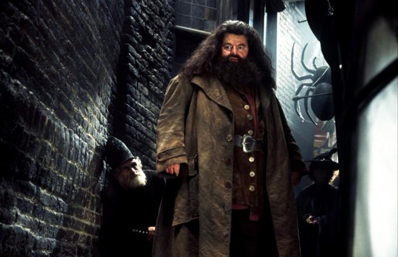 Hagrid (Robbie Coltrane) a Nocturne Alley in una scena di Harry Potter e la camera dei segreti