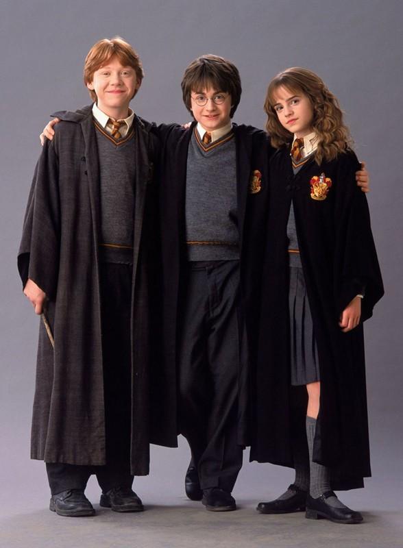 Il magico trio in una foto promo del film Harry Potter e la Camera dei Segreti