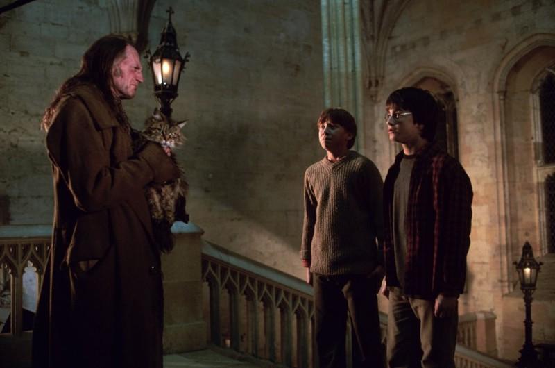 David Bradley, Daniel Radcliffe e Rupert Grint in una scena di Harry Potter e la camera dei segreti