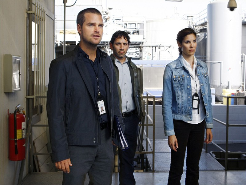 G (Chris O'Donnell), Max Tyrus (Gregory Sims) e Kensi (Daniela Ruah) in una scena dell'episodio Pushback di NCIS: Los Angeles