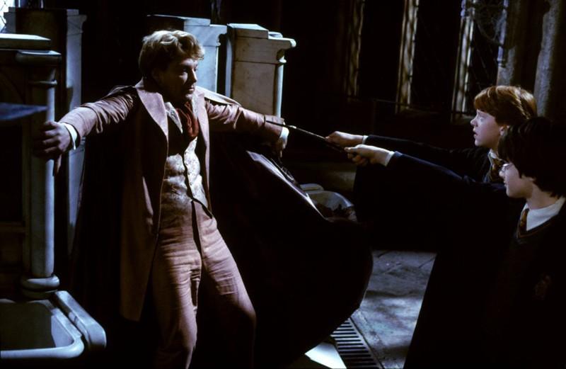 Kenneth Branagh, Daniel Radcliffe e Rupert Grint in una scena di Harry Potter e la camera dei segreti