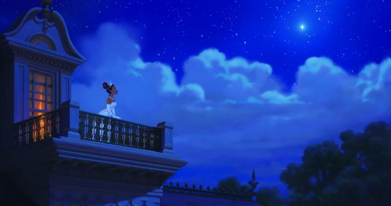 La protagonista de La principessa il ranocchio in una romantica sequenza del film