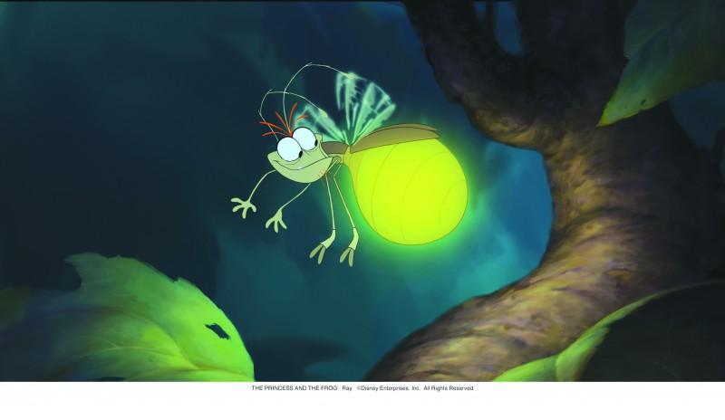 La simpatica lucciola Ray è tra i protagonisti del cartoon La principessa il ranocchio (2009)