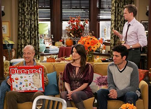How I Met Your Mother: Chris Elliott con Josh Radnor, Neil Patrick Harris e Cobie Smulders nell'episodio Slapsgiving 2: Revenge of the Slap