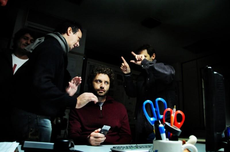 Una foto scattata sul set del film Meno male che ci sei