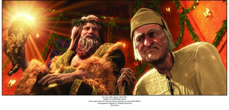 A Christmas Carol: l'anziano Scrooge con lo spirito del Natale presente