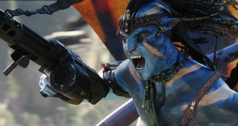 Un momento d'azione del film Avatar di James Cameron