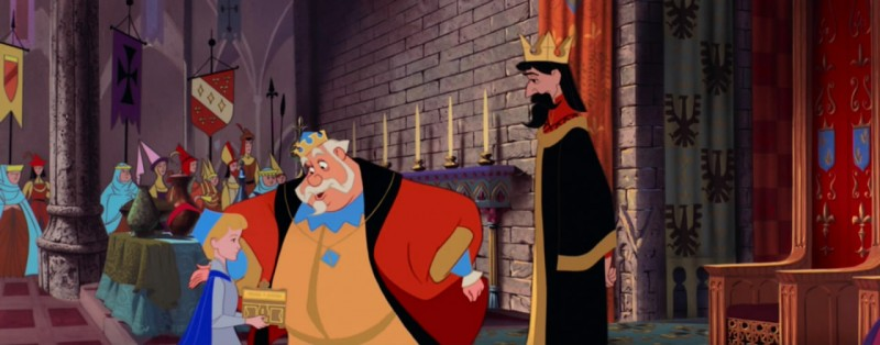Re Uberto con Re Stefano e il principe Filippo in una scena del film La bella addormentata nel bosco