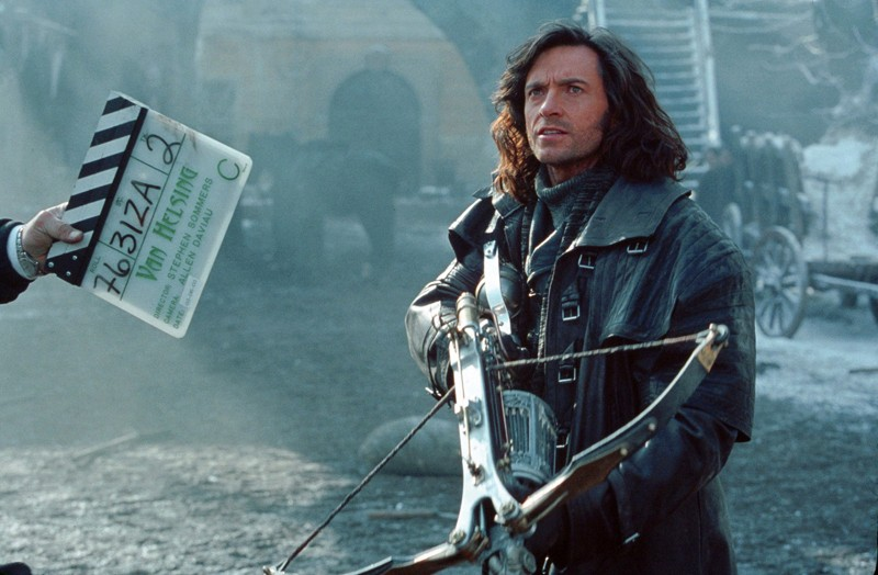 Hugh Jackman durante un ciak sul set del film Van Helsing