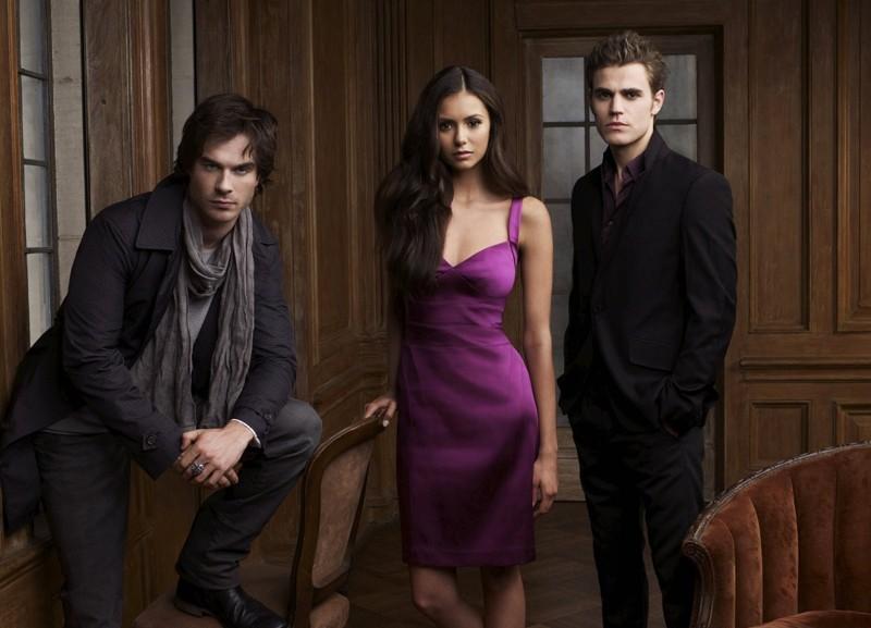 Ian Somerhalder, Nina Dobrev e Paul Wesley in un'immagine della serie tv The Vampire Diaries