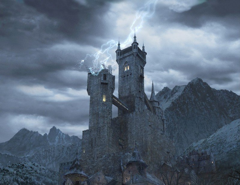 Il castello di Frankenstein viene colpito da un fulmine nel film Van Helsing