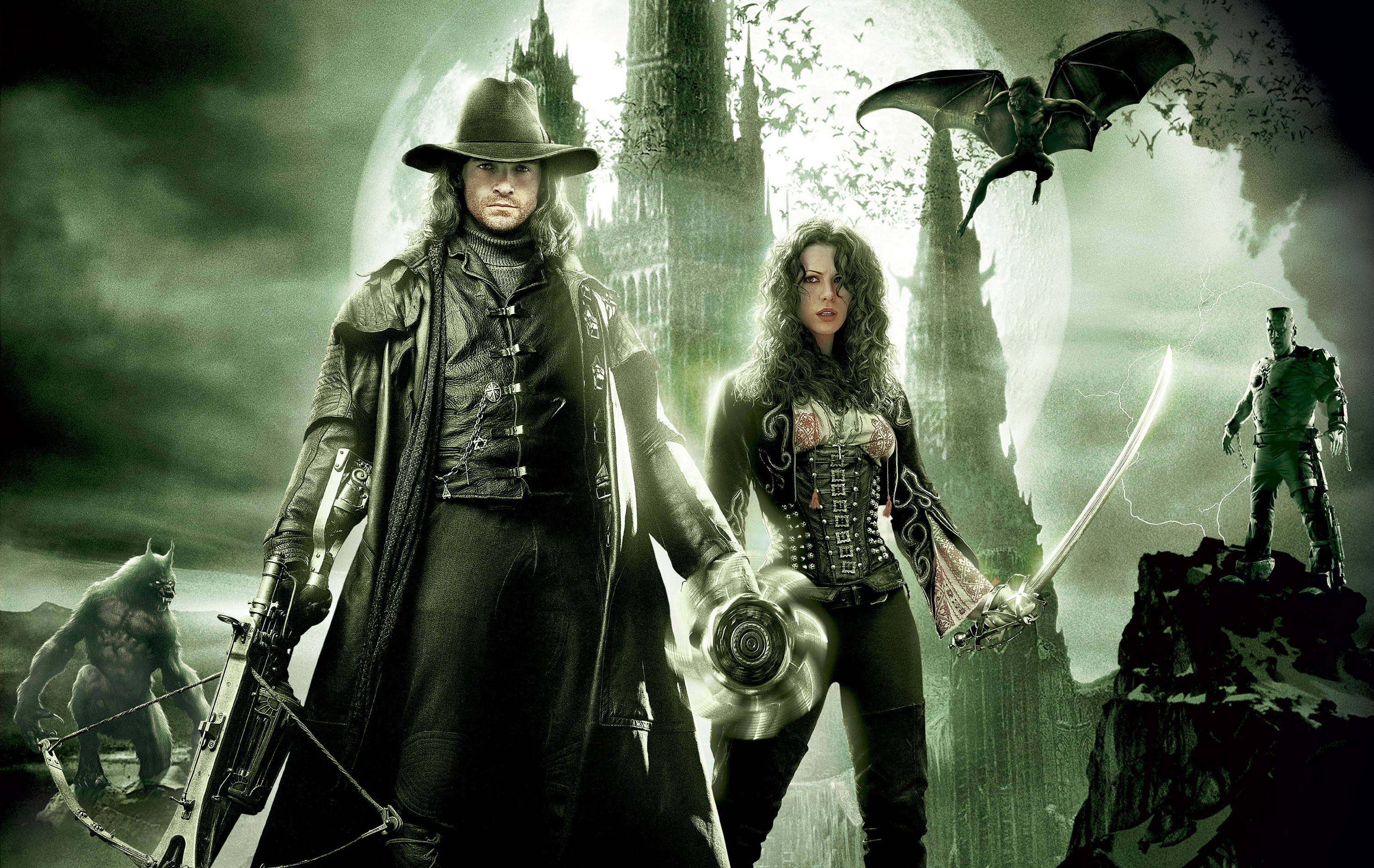 Un wallpaper di Van Helsing con Hugh Jackman e Kate Beckinsale