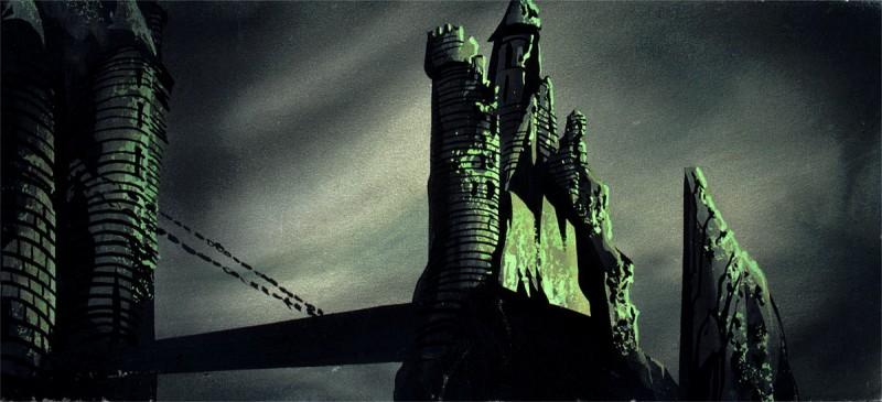 Uno dei layout del castello di Malefica de La bella addormentata nel bosco disegnati da Eyvind Earle