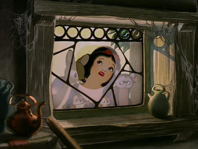 Biancaneve e i suoi animali in una scena del film d\'animazione Biancaneve e i sette nani ( 1937 )