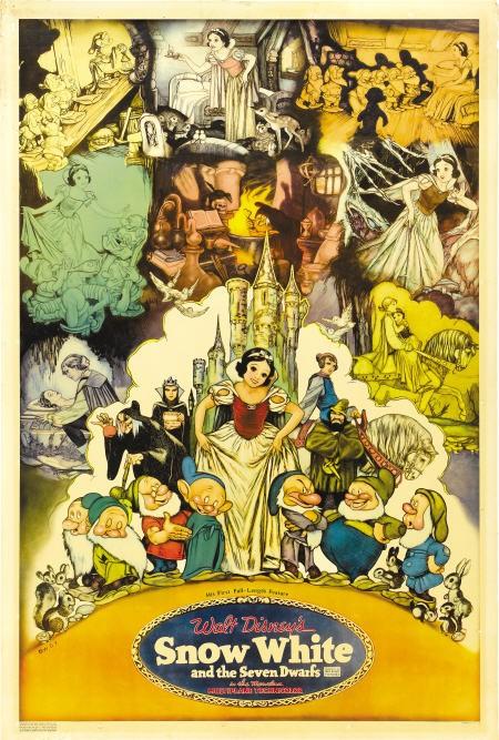 Una splendida locandina a colori del film d\'animazione Biancaneve e i sette nani