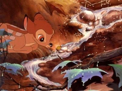 Il cerbiatto in una scena del film Bambi ( 1942 )
