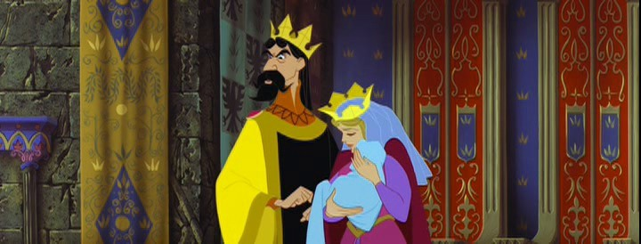 Re Stefano e la Regina in una scena del film d\'animazione La bella addormentata nel bosco ( 1959 )