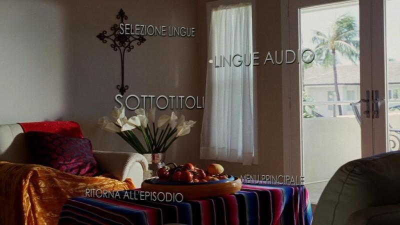 Un'immagine del menù di selezione lingue del disco 1 di Lost - Stagione 5