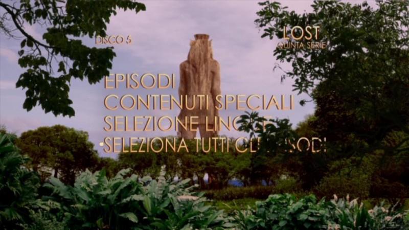 Un'immagine del menù principale del disco 5 di Lost - Stagione 5