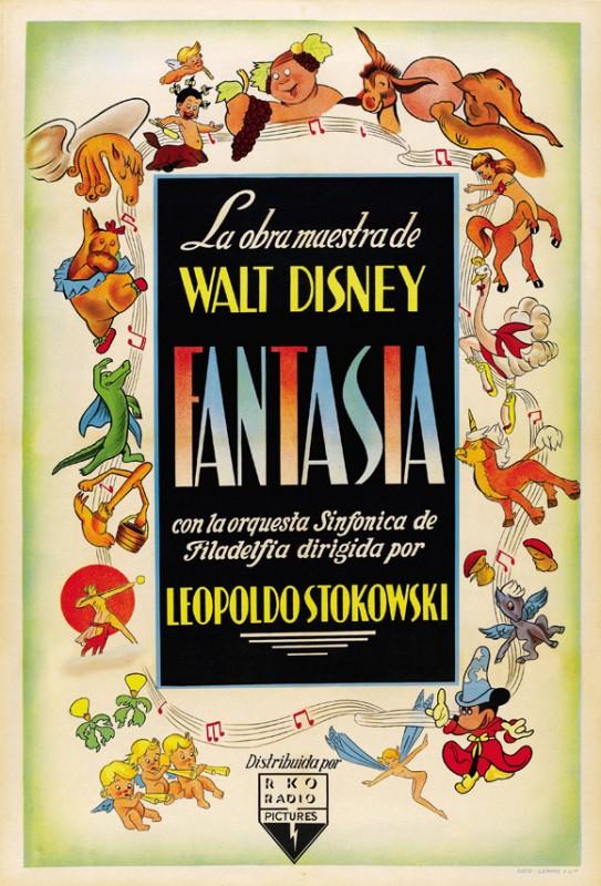 Una bella locandina spagnola del film Fantasia (1940)