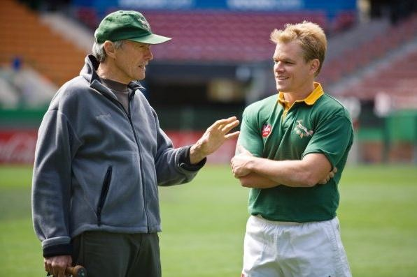Clint Eastwood e Matt Damon sul set del film Invictus