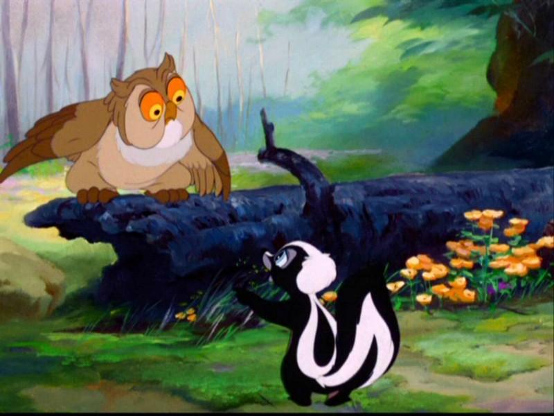 La puzzola Fiore in una scena del film d\'animazione Bambi