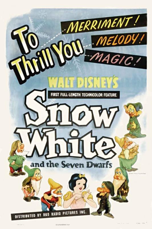 Una bella locandina del cartoon Biancaneve e i sette nani ( 1937 )