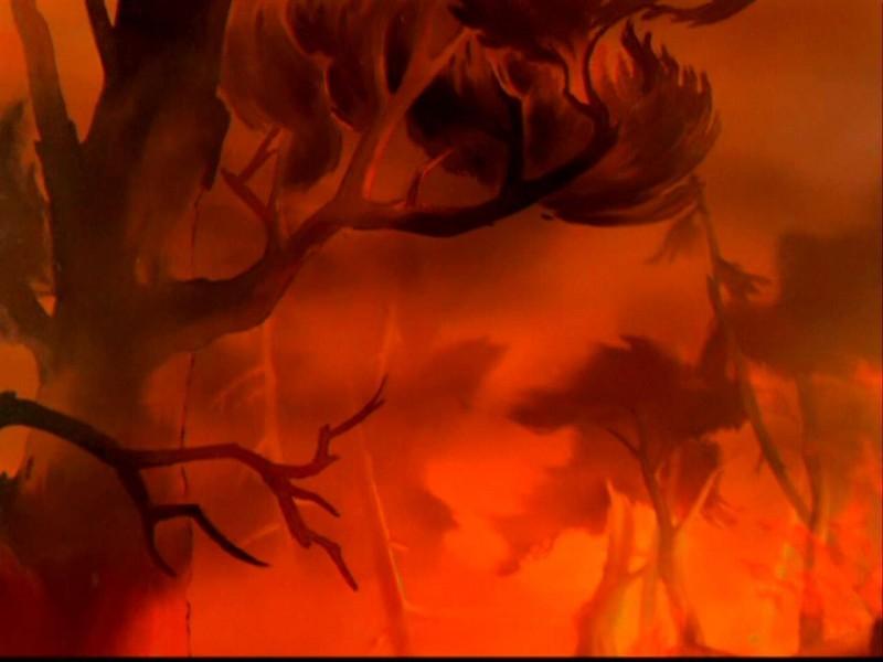 Una drammatica scena del film d\'animazione Bambi ( 1942 )