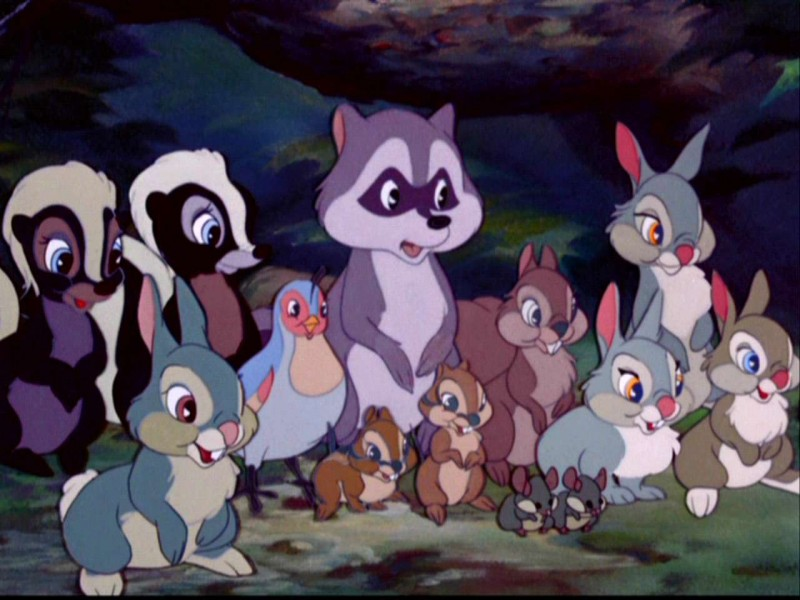 Una scena di massa del film d\'animazione Bambi ( 1942 )