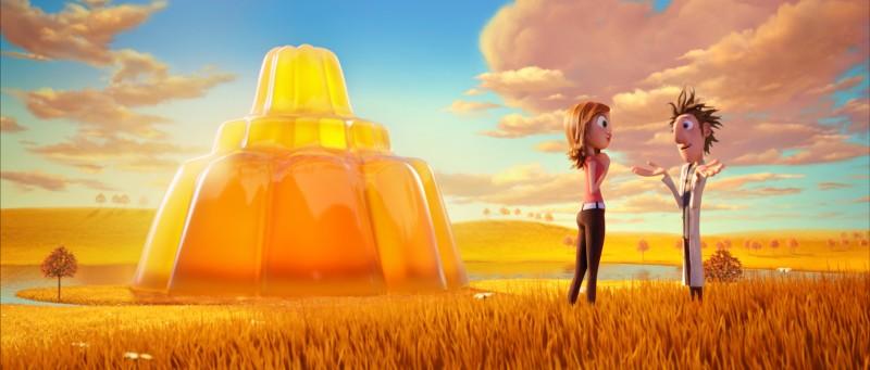 Un'immagine romantica del film Piovono polpette con i due protagonisti