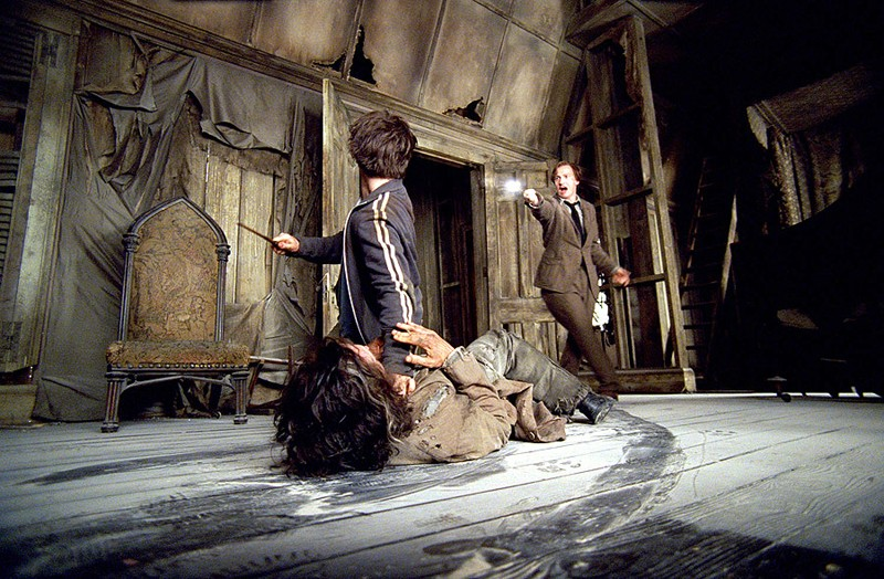 Una scena d'azione nel film Harry Potter e il Prigioniero di Azkaban con Daniel Radcliffe, Gary Oldman e David Thewlis